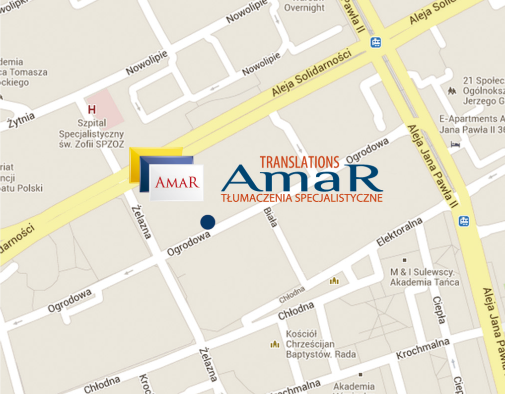 Mapa dojazdu do AmaR TRANSLATIONS